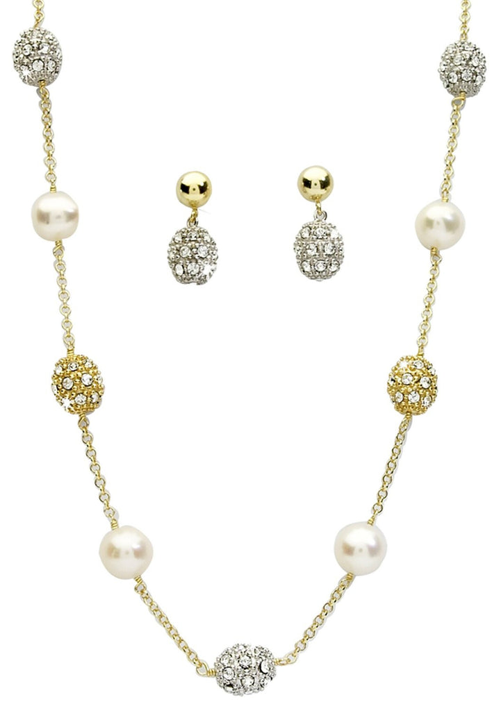 Pearl and Gem Ball Necklace and Earrings Set