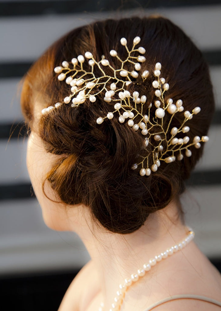 Gold Plated Pearl<BR/> Hair Trellis Bridal <BR/>Accessory