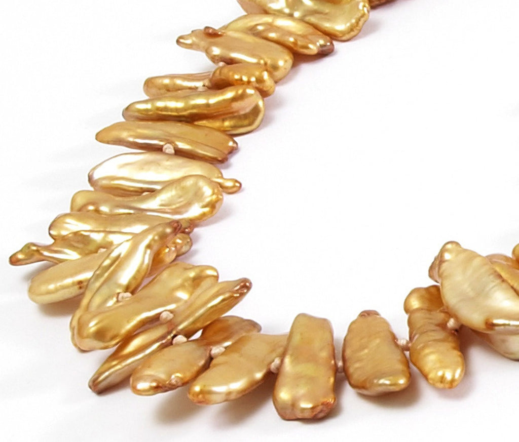 Gold Biwa Pearl <BR/>Necklace