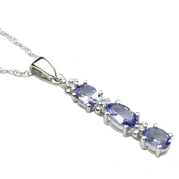 Tanzanite Diamond Stick Pendant