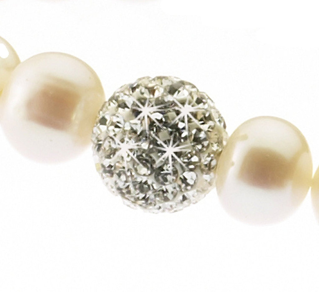 Pearl and Crystal<BR/>Elasticated Bracelet