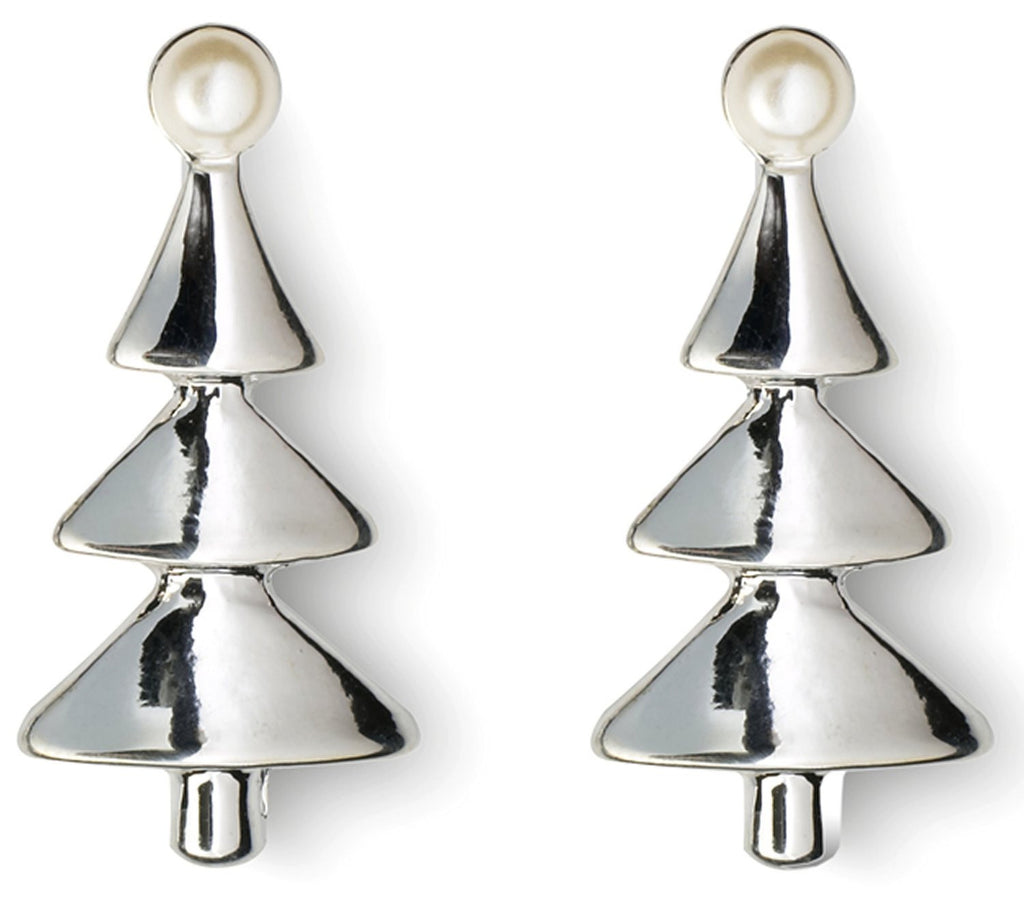 Silver Plated Christmas Tree Earrings with Pearls