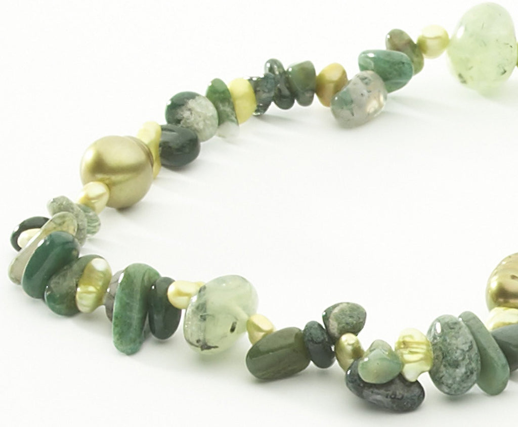 Freshwater Cultured <BR/>Baroque Pearls Moss <BR/>Agate Green Pearl Necklace