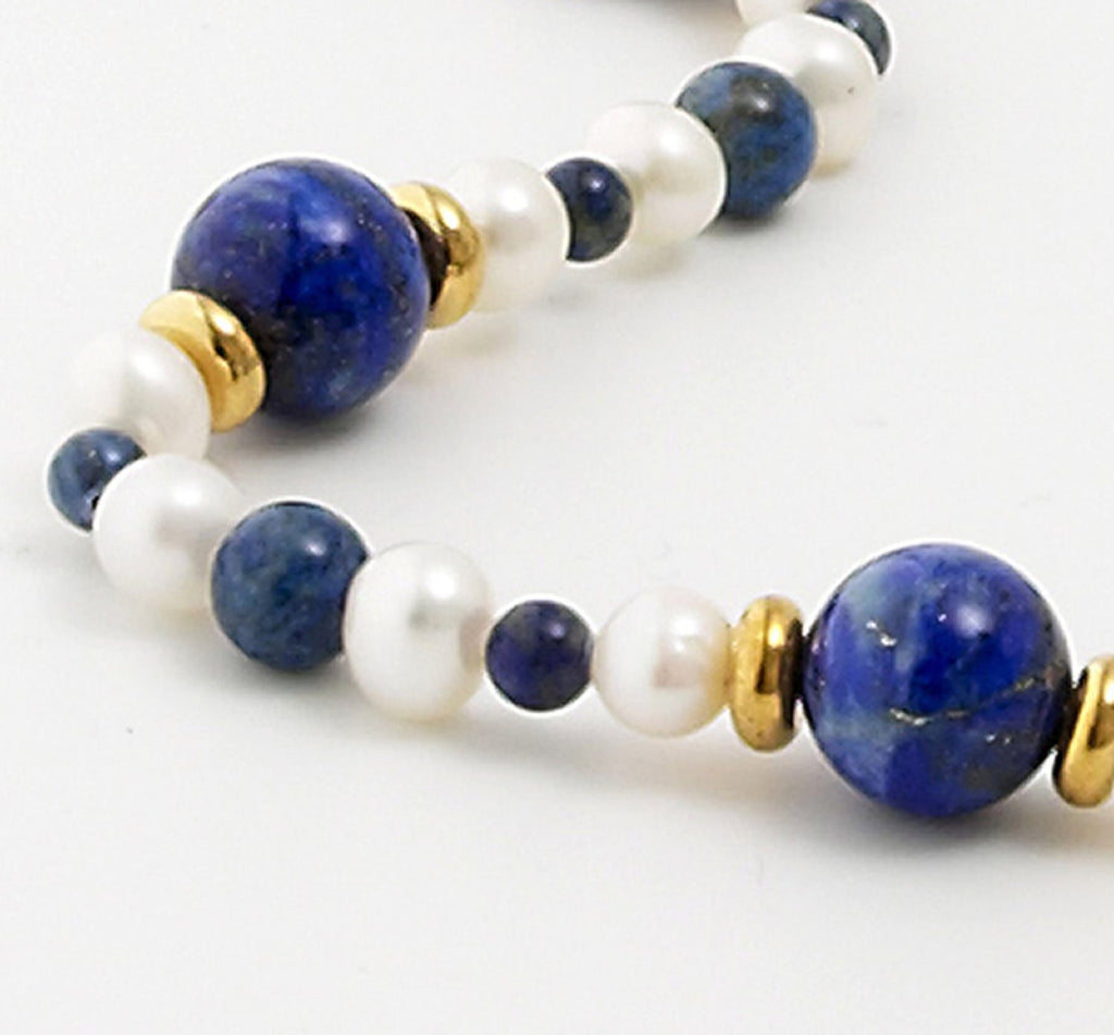 Lapis Lazuli and<BR/> Pearl Necklace