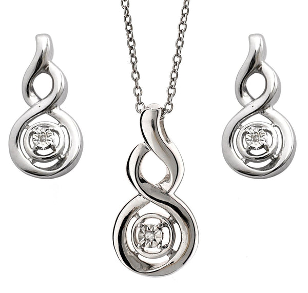 Diamond Pendant and Swirl Earrings Set