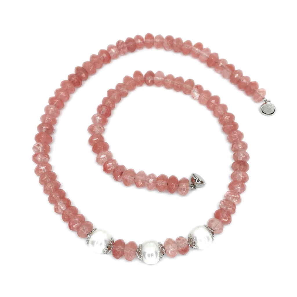 Cherry Quartz & Pearl <BR/>Necklace