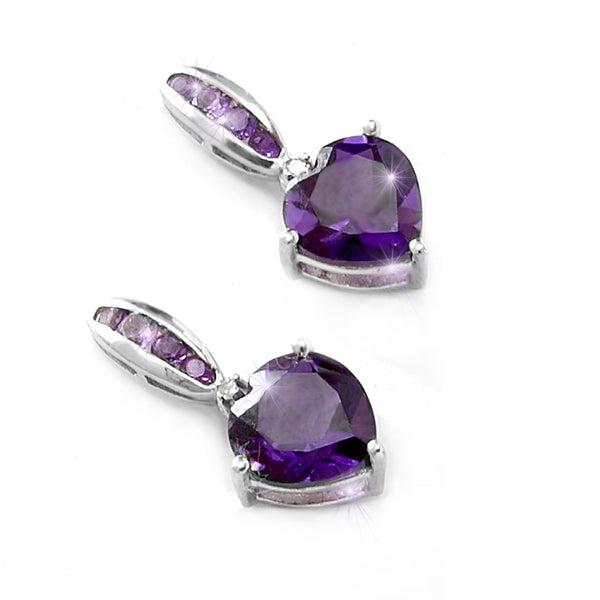 Amethyst Heart Diamond Earrings