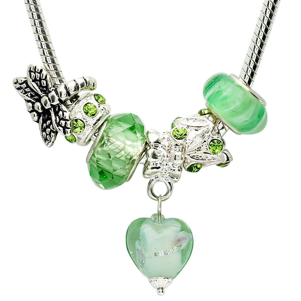 Green 18 Inch Charm Necklace