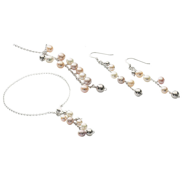 Pastel Pearl <BR/>Necklace, Bracelet<BR/> and Earrings Set