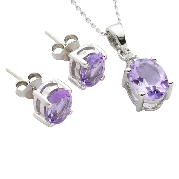 Pink Amethyst and Diamond Set