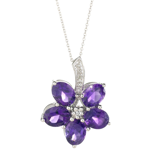 Amethyst, Diamond <BR/>and Topaz Pendant