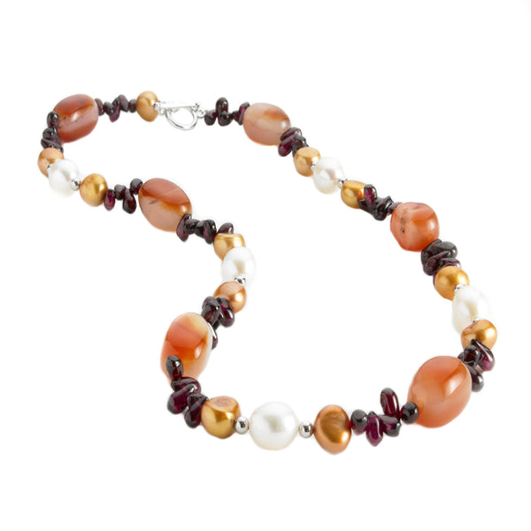 Agate, Garnet and <BR/>Pearl Necklace