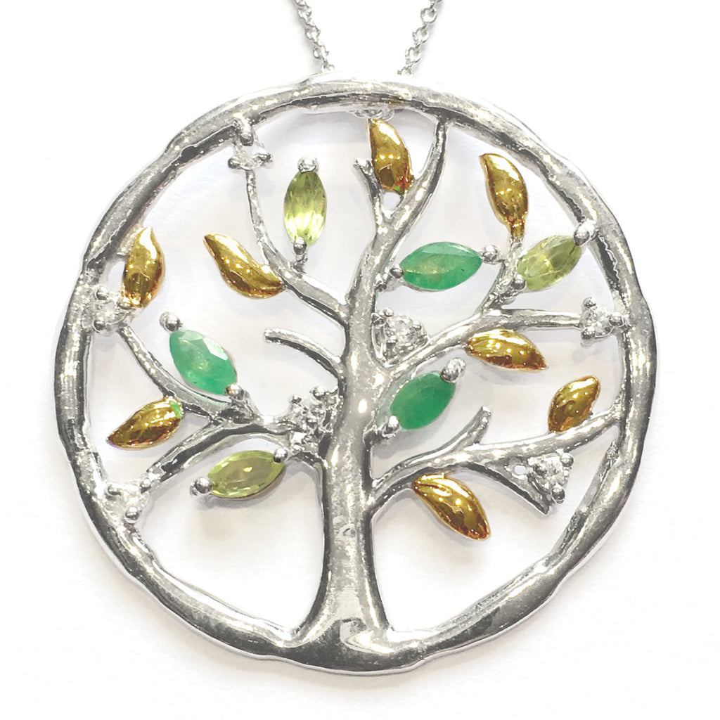 Anderson & Webb Tree of Life Green Emerald, Peridot and White Topaz Silver Pendant Necklace 18