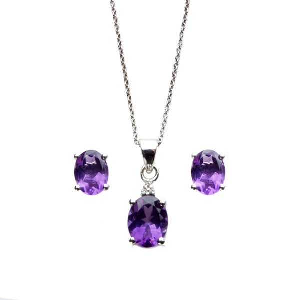 Amethyst and Topaz <BR/>Pendant with<BR/> Earrings Set