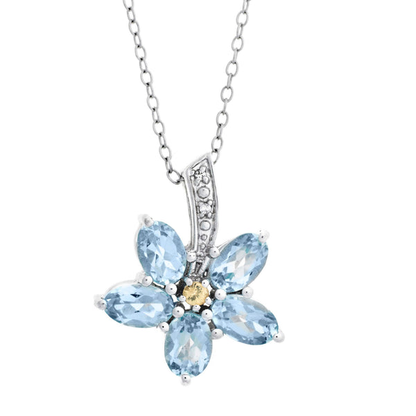 Forget Me Not <BR/>Sapphire and Topaz <BR/>Pendant