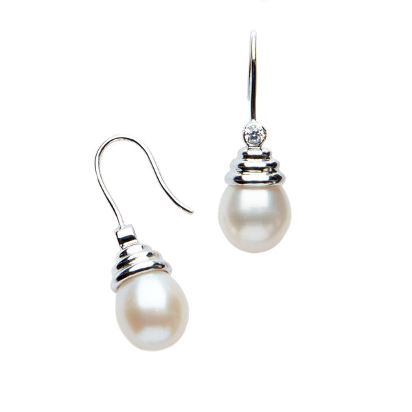 White Pearl <br/>Drop Earrings
