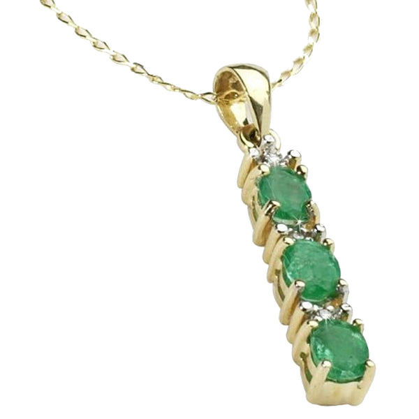 Emerald And Diamond Stick Pendant