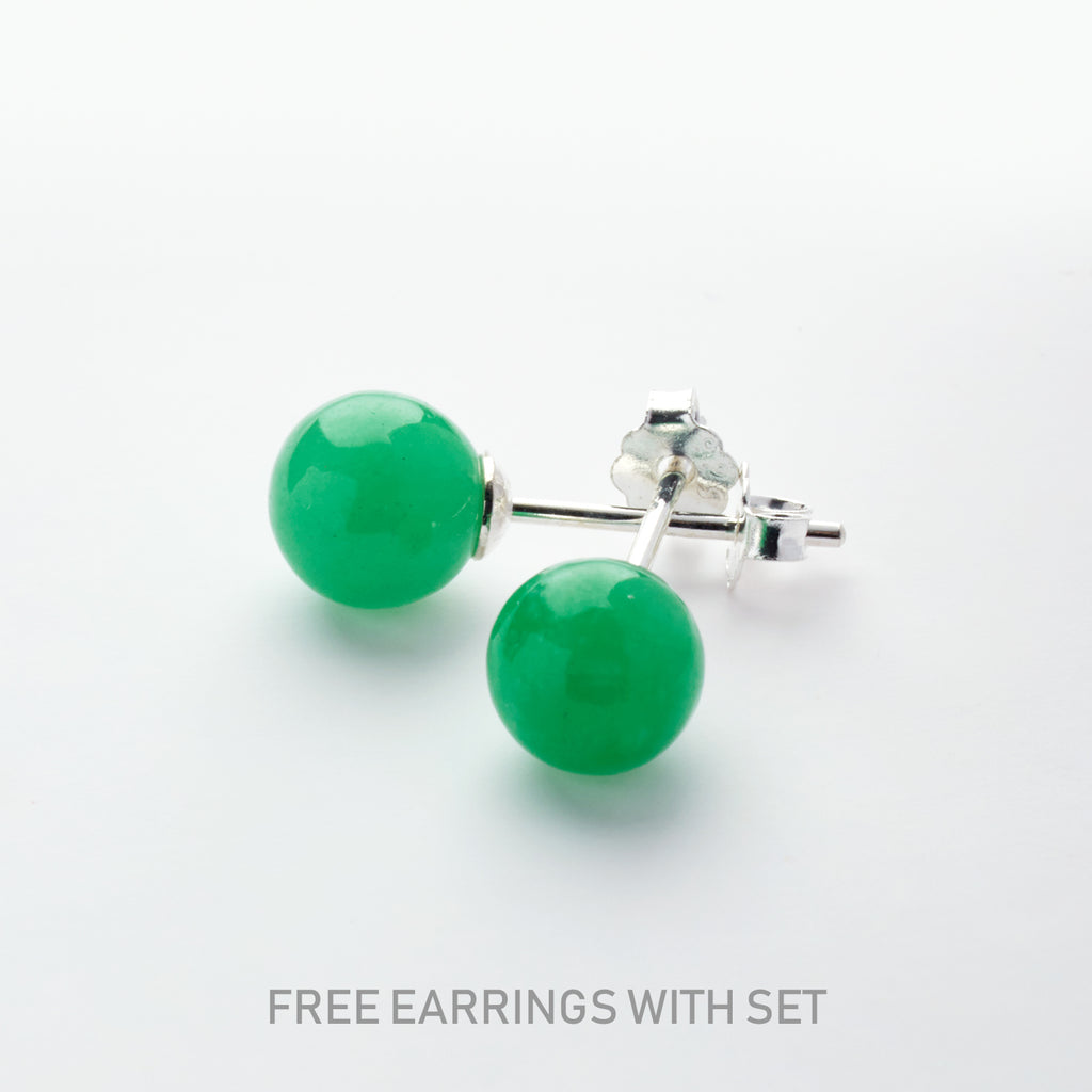Jade Blessings <BR/>Pendant and <BR/>Earrings Set