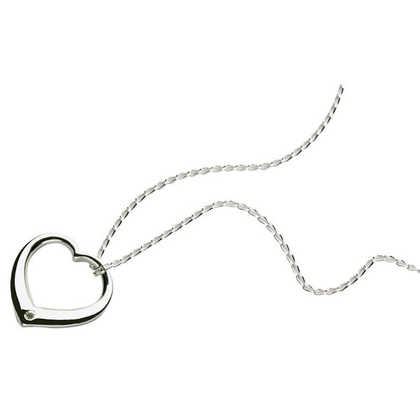 Sterling Silver and Diamond Heart Pendant