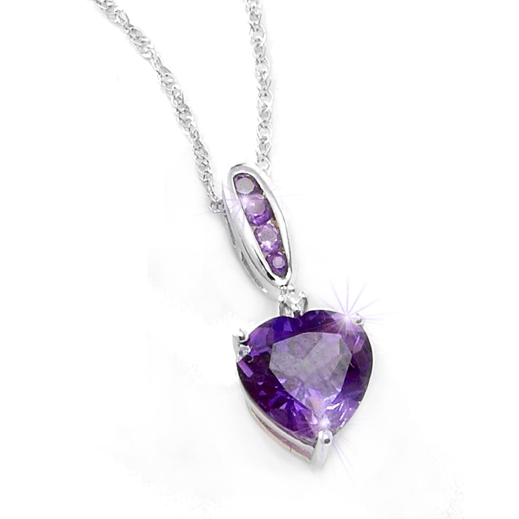 Amethyst Diamond<BR/> Heart Pendant and<BR/> Earrings Set