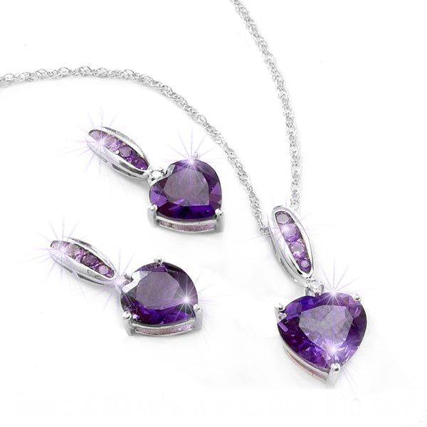 Amethyst Diamond Heart Pendant and Earrings Set