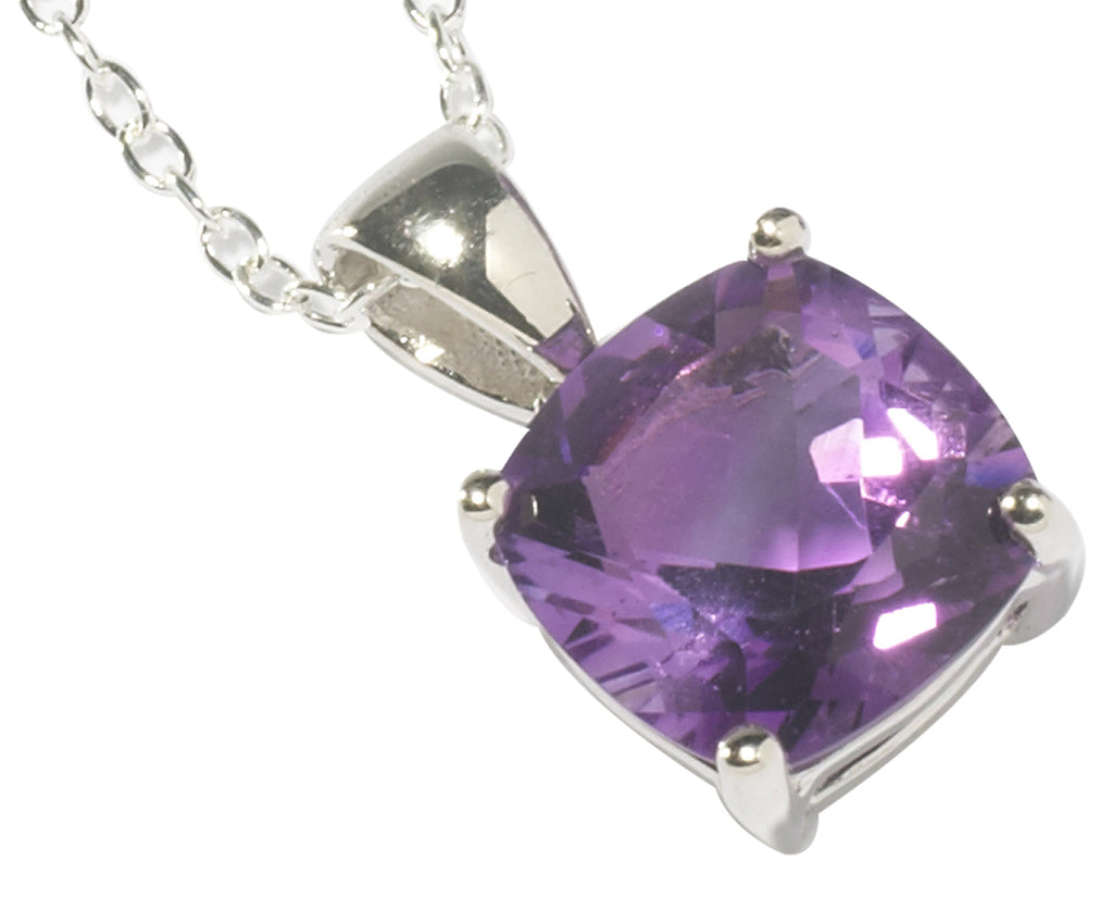 Amethyst Square <BR/>Necklace and<BR/> Earrings Set