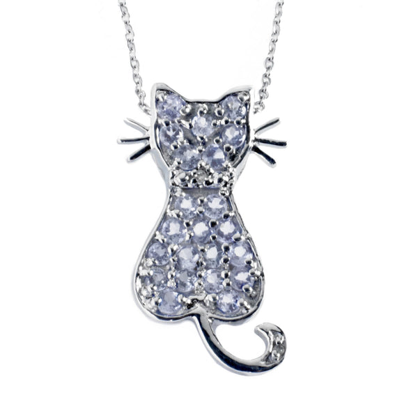 Tanzanite Diamond <BR/>Cat Pendant