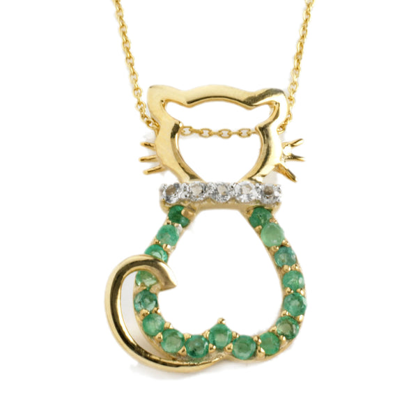 Emerald Cat Pendant