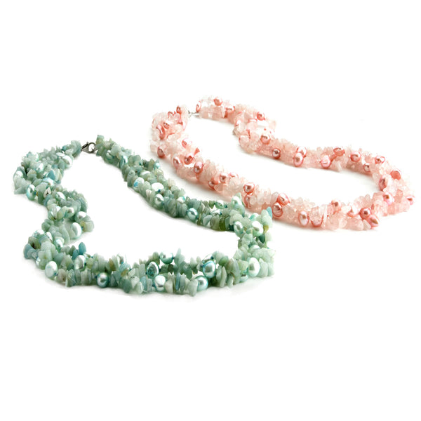 Anderson & Webb 2 Pearl And Semi-Precious Gemstone Twist Necklace In Pink & Green