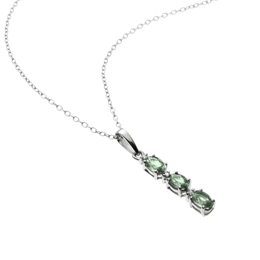 Green Sapphire and <BR/>Diamond Pendant <BR/>and Earrings Set
