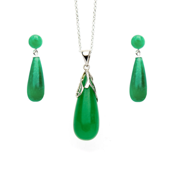 Jade Drop Pendant<br/> and Earrings