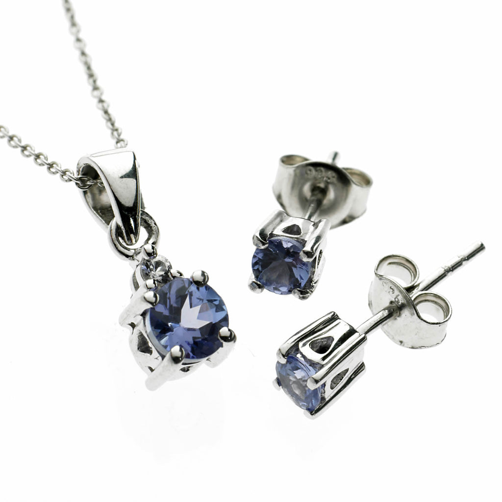 Tanzanite Necklace and Earrings Set