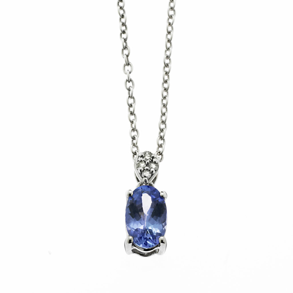Tanzanite Diamond Oval Pendant
