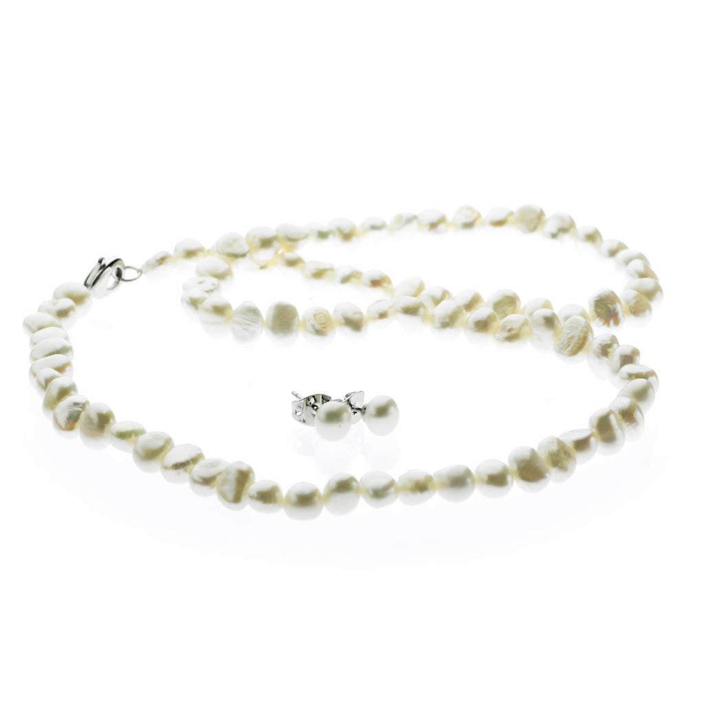 Semi Baroque Pearl Necklace and Earrings Set