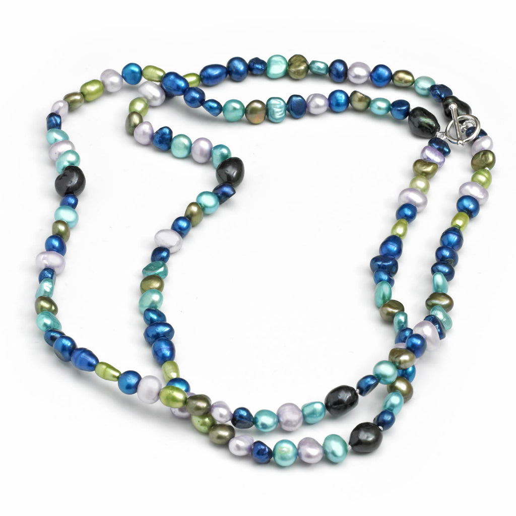 Multi Row Pearl Necklace: Two Row Freshwater Cultured Pearl Necklace