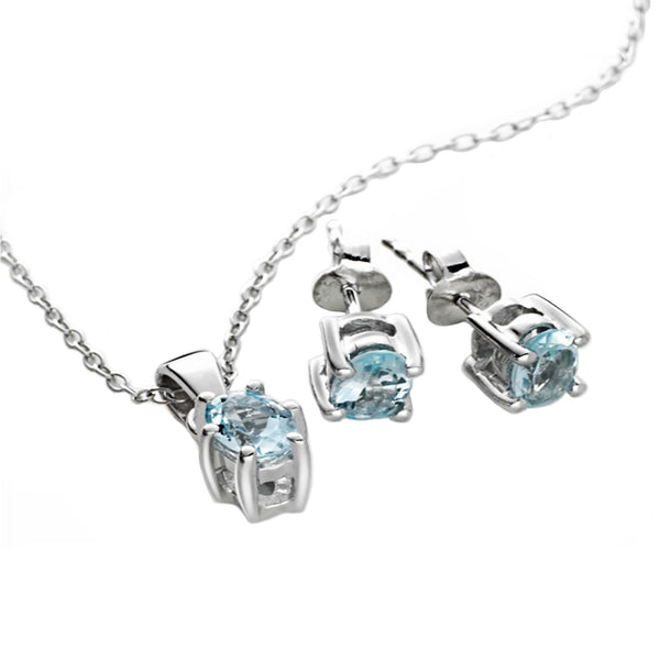 Aquamarine Pendant <BR/>and Earrings Set