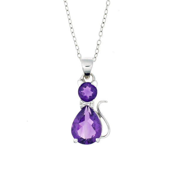 Amethyst and Topaz <BR/>Cat Pendant