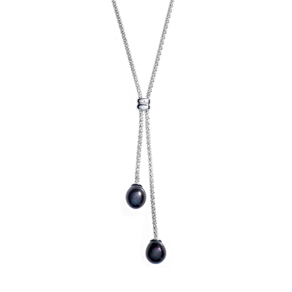Black Pearl Silver<BR/>Lariat Necklace
