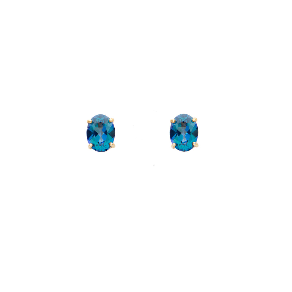 Neptune Blue Topaz <BR/>Oval Stud Earrings