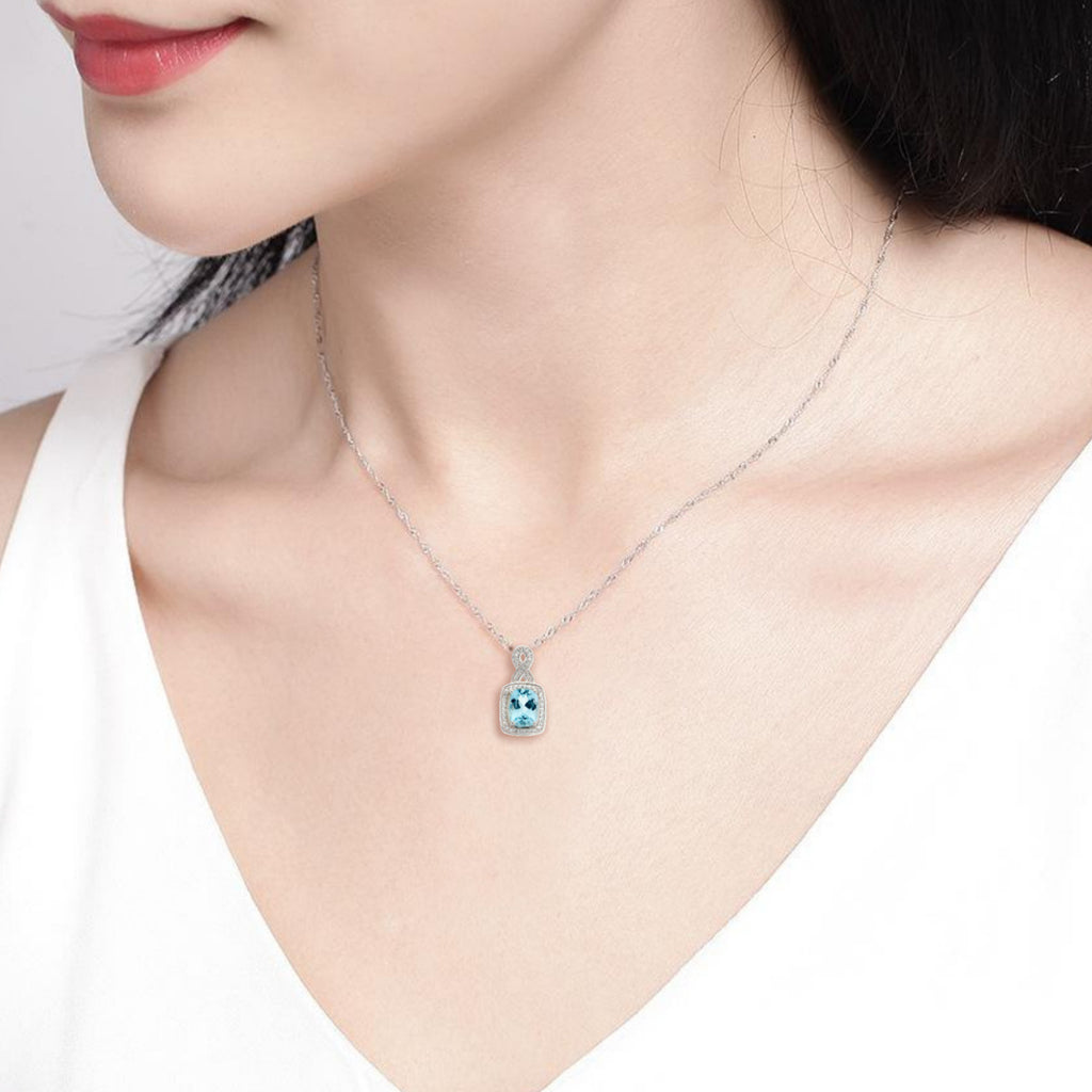 Sky Blue Topaz<BR/>and White Topaz<BR/>Silver Pendant