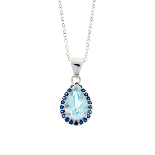Sky Blue Topaz<BR/>and Blue Sapphire<BR/>Pear Pendant<BR/>and Earrings Set