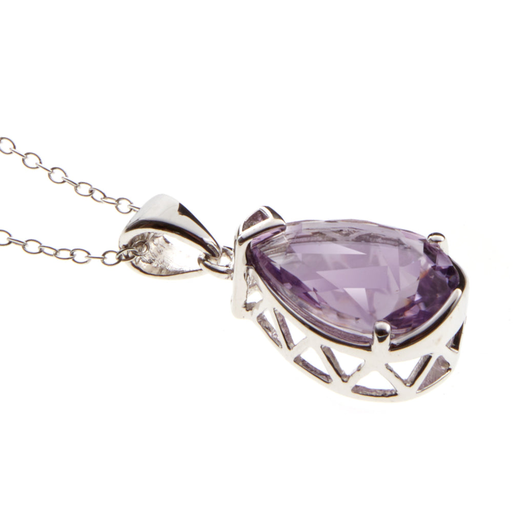 Pink Amethyst <BR/>Pear Pendant