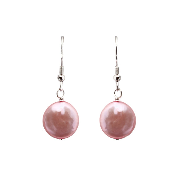 Pink Coin Pearl <BR/>Earrings