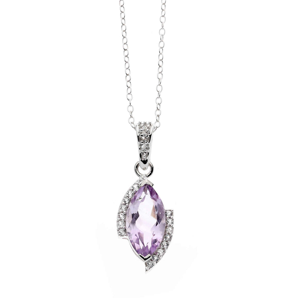Brazilian Amethyst Marquise<BR/>Silver Pendant