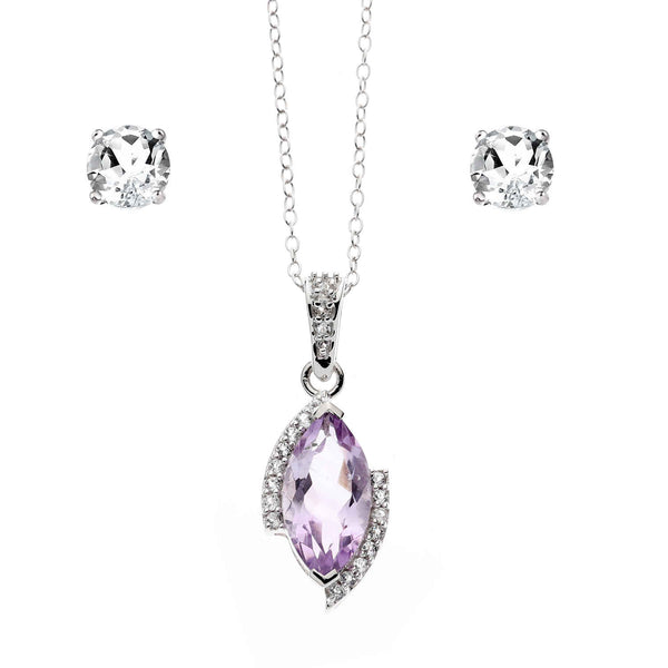 Brazilian Amethyst Marquise<BR/>Pendant and Topaz Earrings