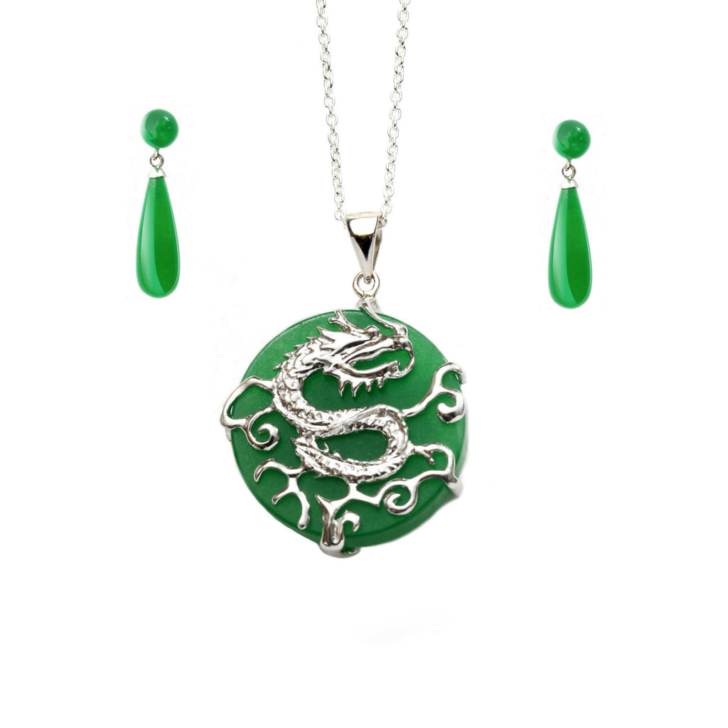 Jade Dragon Pendant <BR/>with Jade Earrings Set