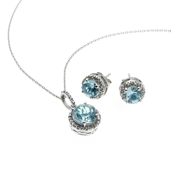 Diamond and Topaz Pendant and Earrings Set