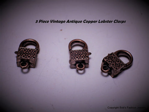 Vintage Antiqued Copper Lobster Clasps Lot of 3 - Bestwire Jewelry
