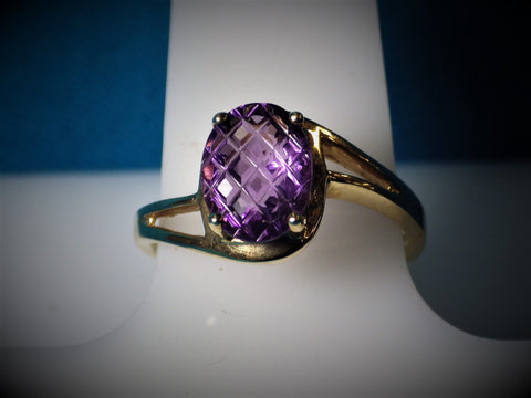 "10 Kt Gold ""Pineapple Cut"" Amethyst Ring - Bestwire Jewelry"