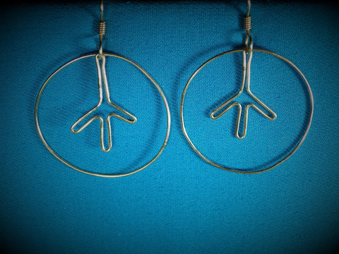 14kt Gold Filled Peace Sign Hoop Earrings - Bestwire Jewelry